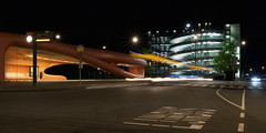 Lijnbus (zsnajorrah) Tags: urban architecture text sign road zebra cars bus transportation busstop parkinggarage parking trees motion night longexposure 7dmarkii ef2470mmf4l netherlands hoofddorp spaarnegasthuis
