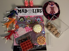 Snaks, game, slippers, and sockmonkies (Crystalviolin) Tags: party bunny cookies sock doll chocolate slumber coke pillow pizza swap popcorn chip blythe soda mad slippers sleepover monkies libs