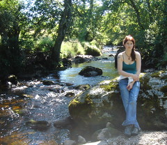 Liz by the river (Sibad) Tags: invernessshire ourfriend strathnairn thehighlands lizdelaney inverarnie scotlandriverfarnack