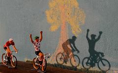 Miniature cyclists (Marijke Clabots) Tags: colour macro tree cyclists chalk shadows drawing winner nikkorafs105mmf28gifedvrmicro miniaturecyclists