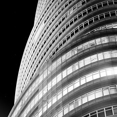 The Lipstick Building (Adam Garelick) Tags: city nyc newyorkcity blackandwhite 120 6x6 film monochrome architecture mediumformat lights manhattan midtown hasselblad rodinal 2012 fujineopanacros
