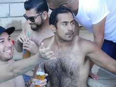 DSCN8456 (CAHairyBear) Tags: shirtless man men uomo hombre homme poolparty hom