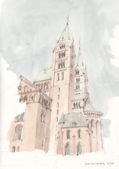 Dom zu Speyer (Flaf) Tags: world colour heritage water pencil site drawing dom kirche unesco spire kaiser florian romanesque rhein pfalz freie stillman weltkulturerbe spira romanik birn flaf afflerbach zeichnerei