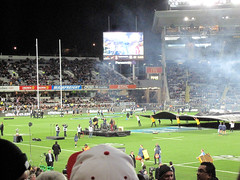 Bledisloe Cup, New Zealand Vs Australia, Eden Park (russelljsmith) Tags: newzealand cute fleur girl walking pretty rugby edenpark coat tie australia auckland sheet allblacks carrying 2012 bledisloecup 77285mm