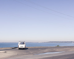lookout (a_bergman) Tags: ocean sea green water car coast waiting view reststop lookout rest van