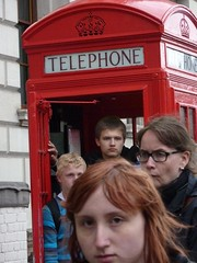 London - red phone booth and four people (ashabot) Tags: people london