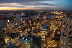 Sydney CBD from above (Kokkai Ng) Tags: above new travel bridge sunset sea sky tower tourism water wales night skyscraper buildings harbor office high twilight harbour dusk south north sydney aerial east blocks cbd tall offices sydneyharbourbridge lluminated