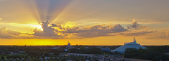 Beginning of the End of the Day (Todd Hurley (Todd_H)) Tags: sunset panorama orlando florida monorail wdw magickingdom crepuscularrays contemporaryresort disneytransportation cinderellacastle