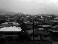 rainy morning in Kaimuki (Guy: Jussum Guy) Tags: blackandwhite mountains rain clouds hawaii oahu honolulu palolovalley kaimuki stlouisheights wilhelminarise panasonicdmczs3
