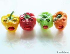 How do you take your peppers? Raw or roasted? (amalia lam) Tags: red food orange reflection verde green cooking kitchen colors vegetables photoshop jaune canon fun rouge photography cuisine salad funny colore faces humor cook vert giallo peppers pepe imagemanipulation rosso insalata salade poivron arancione humoristic poivre salades peperone sweetpeppers digitalcreation culinar gellow lepoivre coleour powershotg12