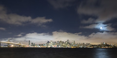 Moonlit San Francisco (NMB.Photography) Tags: bridge moon tower fog clouds america bay san francisco pyramid bank transamerica coit 5d3