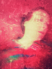 Studies in red II (Sarah Jarrett) Tags: red portrait distortion selfportrait blur slowshutter iphoneart iphoneography snapseed