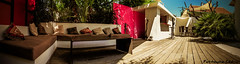 Summertime (cedmars) Tags: summer panorama sun france colors architecture bar garden table design soleil colorful angle terrace decoration terrasse jardin style grand pillow t couleur sud dco color coussin