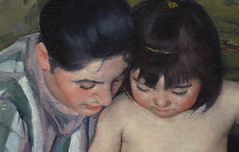 Cassatt, The Child's Bath, detail of faces