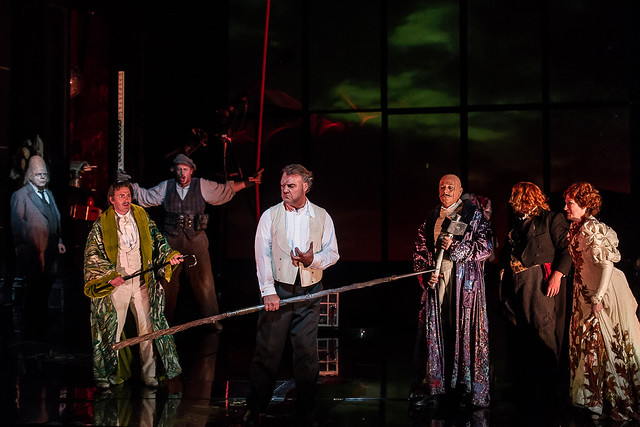 Eric Halfvarson as Fafner, Andrew Rees as Froh, Iain Paterson as Fasolt, Bryn Terfel as Wotan, Peter Coleman-Wright as Donner, Stig Andersen as Loge and Sarah Connolly as Fricka  © Clive Barda/ROH 2012
