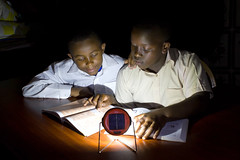 Solar lamp helps children study