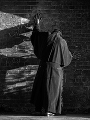 Caped man in mask (fstop186) Tags: cape mask man underground arches blackandwhite black white contrast