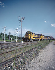 AT&SF 6381 and 5658 with signals in August, 1983 in Mulvane, KS -- 4 Photos (railfan 44) Tags: atsf santafe