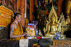 The Monk with a Tattoo and the Golden Buddha at Doi Suthep (Anoop Negi) Tags: thailand doi suthep buddha wat phra that chiangmai monk tattoo golden pagoda buddhism photo photography anoop negi ezee123 travel asia