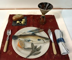 """Trout & Asparagus"" by Janet Halligan (Christine Cox @ potfest) Tags: dinnerforone potfestinthepens penrith cumbria pottersmarket ceramic"