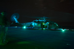 160823-N-PS473-002 (CNE CNA C6F) Tags: amphibiousreadygroup flightdeck lhd1 mh60s sailors seahawk usnavy usswasp wasparg flightoperations nightflightoperations mediterraneansea