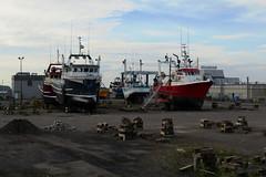 The ship yard in Rivire-au-Renard (Gasp), Qubec (Ullysses) Tags: boatyard gaspesie gasp summer t rivireaurenard boats ships fishingvessels bateauxdepeche foxriver shipyard