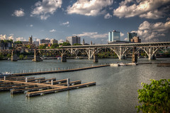 The Tennessee River with the Henley St. Bridge and the railroad bridge (donnieking1811) Tags: tennessee knoxville river rivers bridge bridges city cityscape skyline boats clouds canon 60d