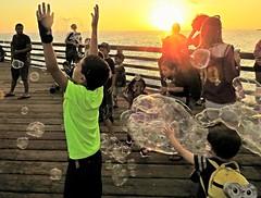 Bubble Crazy Kids (moonjazz) Tags: bubbles children floating kids fun california sunset oceanside pier wild pop smiles childhood