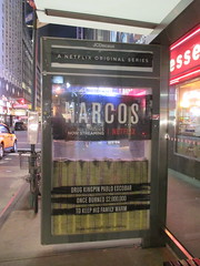 Narcos Bus Shelter Pile O Money AD 5222 (Brechtbug) Tags: narcos tv show bus stop shelter ad with piles slightly singed real fake money or is it 2016 nyc 09102016 midtown manhattan new york city 49th street 7th ave st avenue moola bogus