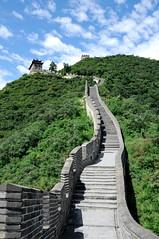 great wall (yuyoung guan - beijing, china) (bloodybee) Tags: greatwall juyoung guan pass mountain sky clouds blue grey gray green china asia travel