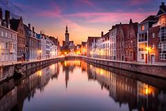 Bruges, Belgium (Joris Vanbillemont) Tags: bruges brugge belgium belgie vlaanderen flanders canal city unesco water lights night sunset travel photo cityscape