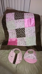Baby Girl Gift Set (J Taylor Quilts) Tags: baby girl gift set minky silk cotton quilt matching bibs paisley