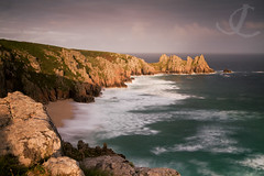 Logan's Rock (jo clegg) Tags: ocean longexposure sea sunlight beach canon evening coast cornwall view eveningsun cliffs atlantic coastalpath porthcurno logansrock pednvounder canon5dmarkii