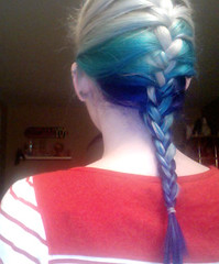 my current hair (Multiple Personalities) Tags: blue white color hair photobooth teal bluehair haircolor