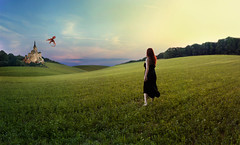 my kingdom come (Valerie Kasinski) Tags: trees sunset red castle colors girl clouds landscape dragon dress princess hill longhair kingdom medieval hills story fantasy stare ponder distance redhair 52 blackdress 52week