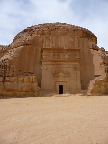 Mada'in Saleh, the burial site of the Nabateans in western Arabia. Today it is a Unesco World heritage site. The Nabatean traders built these tombs and the ones at Petra in Jordan.