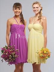 Short/ Mini Ruffles Halter Sheath/ Column Best Bridesmaid Dresses