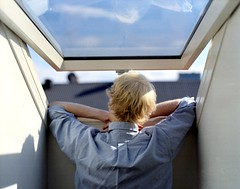 (Benjamin Skanke) Tags: portrait man 120 film window oslo norway loft analog vintage out looking pentax takumar kodak medium format 24 28 6x7 expired portra 800 canoscan 120mm 105mm