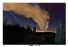 Moon and Stars over Ferrybridge. (nigelnaturist) Tags: uk longexposure moon night wind gates steam pollution powerstation westyorkshire startrails ferrybridge efs1022mmf3545usm explored canon40d nhbphotography