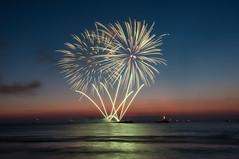 Party at the beach .... (Vikaz) Tags: travel sunset beach netherlands festival nikon europe fireworks dusk scheveningen g august denhaag festivities thehague 2012 lightrays zuidholland d90 internationalfireworksfestival