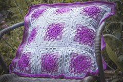 Dianna's crochet cushion (Emma_Seward) Tags: pink blue wool floral 50mm handmade sewing crochet craft yarn homemade granny cushion