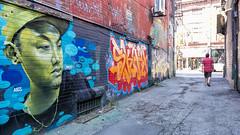 Graffiti Alley (aida_dasilva) Tags: toronto green art graffiti alley alone pedestrian staring graffitialley