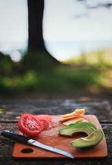 summer's snacks (manyfires) Tags: ocean summer food film cheese oregon analog 35mm tomato lunch avocado picnic bokeh nikonf100 pacificocean pacificnorthwest pnw cheddar cuttingboard oswaldwest shortsands