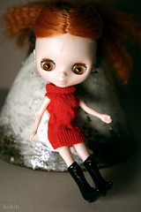 """""""Wooly yarn"""" dress for Petite Blythe doll"""