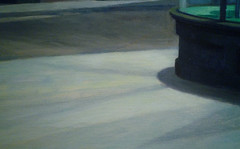 Hopper, Nighthawks with detail of sidewalk