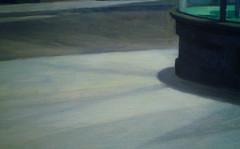 Hopper, Nighthawks with detail of sidewalk