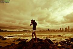 Dangerous steps... (Pablin79) Tags: city sea summer brazil sky beach water girl brasil clouds digital canon buildings eos golden reflex holidays rocks waves cityscape afternoon 5d santacatarina pipa balneariocamboriu markii canoneos5dmarkii 5dmkii pabloreinsch pabloreinschphotography pablin79