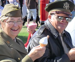 happy (leigh jg) Tags: costumes army happy war norfolk 1940 hats icecream ww2 uniforms sheringham worldwar2 usarmy solider womeninuniform americanarmy