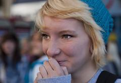 Another shy girl (Nikonsnapper) Tags: street hat nikon cardiff 85mm shy nikkor d700