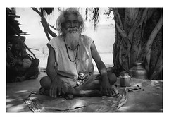 under the banyan tree (handheld-films) Tags: india rural portrait portraiture people man men woman shade banyan tree mono blackandwhite travel indian subcontinent
